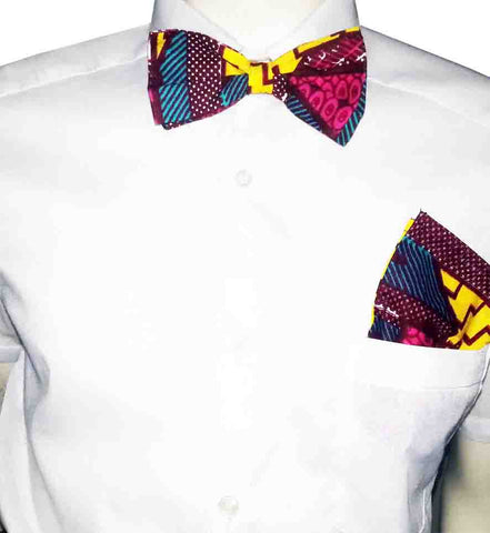 Men's Print Bow Ties & Pocket Square-Harry