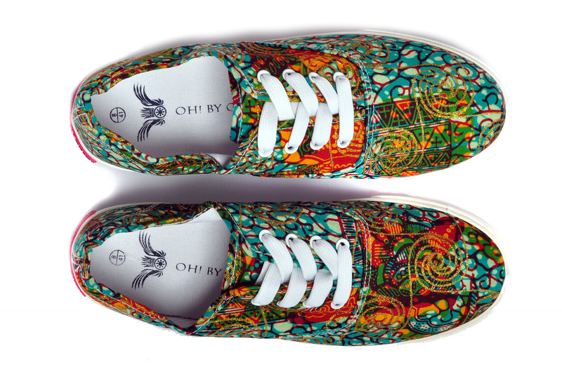 African Print Canvas Sneaker-Butterfly