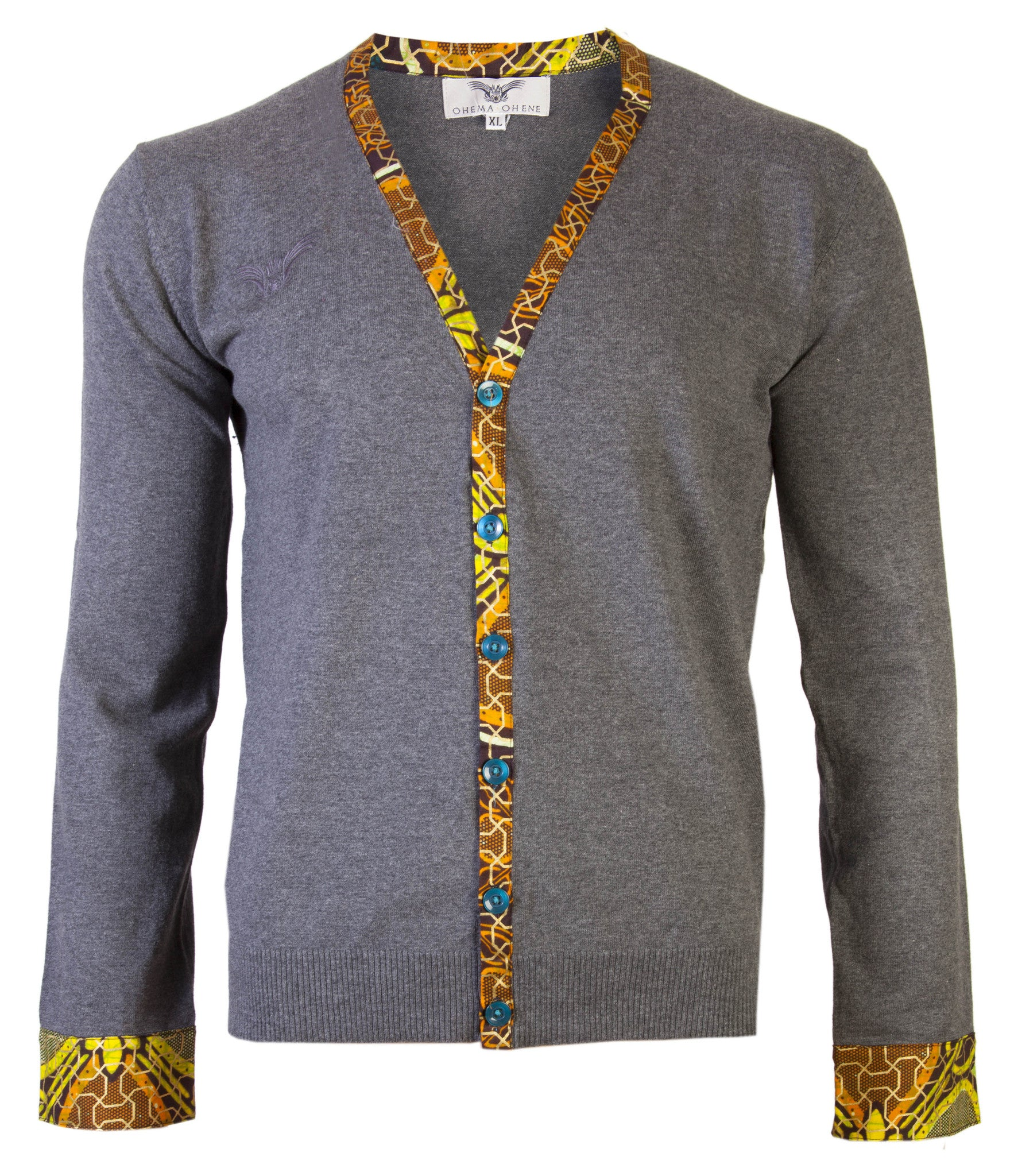 Men's Printed cuff detail cardigan - OHEMA OHENE AFRICAN INSPIRED FASHION  - 1