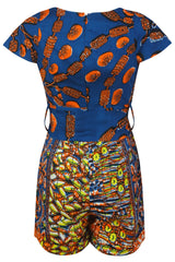 Cecile African mix print playsuit - OHEMA OHENE AFRICAN INSPIRED FASHION  - 2