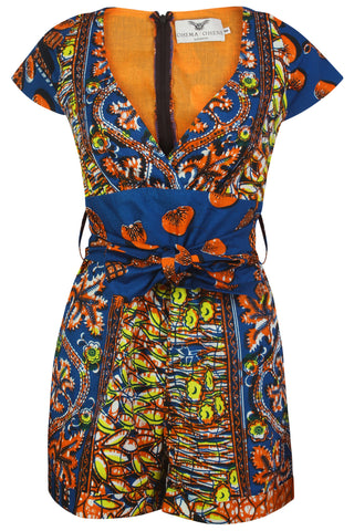 Cecile African mix print playsuit