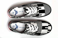 Kente Print Canvas Sneaker-Black & White - OHEMA OHENE AFRICAN INSPIRED FASHION  - 2