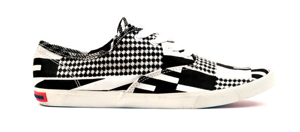 Kente Print Canvas Sneaker-Black & White - OHEMA OHENE AFRICAN INSPIRED FASHION  - 1