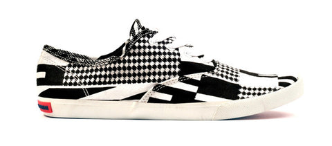 Kente Print Canvas Sneaker-Black & White