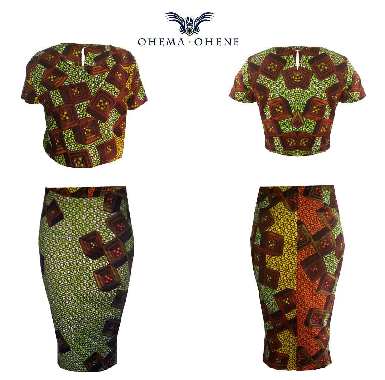 Two Piece African Print Crop Top & Midi Length Skirt -Texx - OHEMA OHENE AFRICAN INSPIRED FASHION  - 3