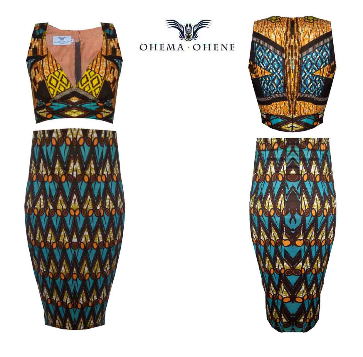 High Waist African Print Two Piece Crop Set-Azzey - OHEMA OHENE AFRICAN INSPIRED FASHION  - 3