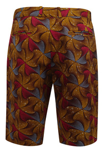 Jamie Men's African Print Fitted Shorts-Crossways