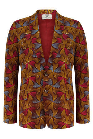 Men's 2 Button African Print Blazer-Joshua 'Crossways'