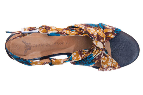 Ladies African print wedge shoes-Afua Evergreen