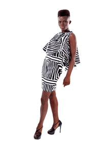 Laura Black & White cape dress - OHEMA OHENE AFRICAN INSPIRED FASHION  - 3