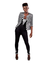 Gloria Black & White blazer - OHEMA OHENE AFRICAN INSPIRED FASHION  - 3