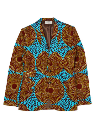 Men's African print Blazer Brown-Joshua 2 Button Nsubra  FT