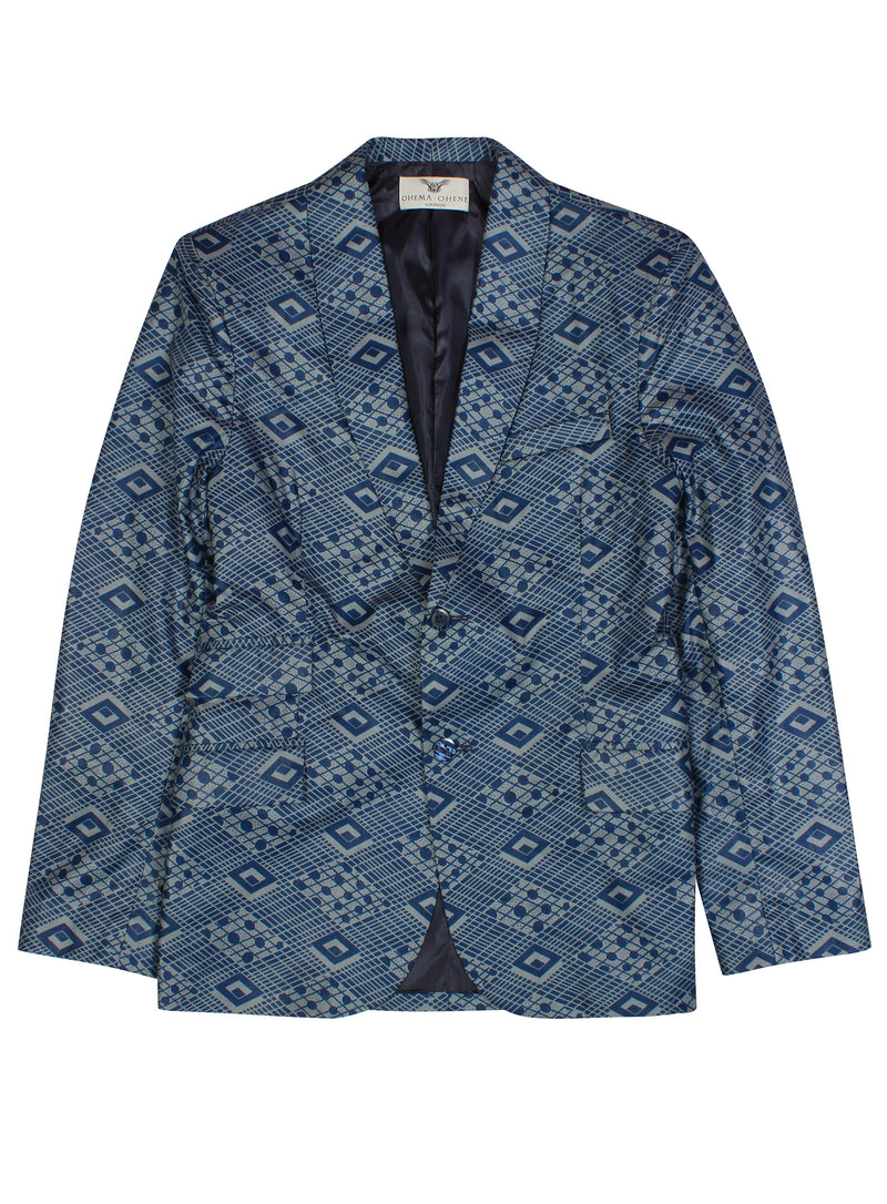Joshua Mens 2 Button Blazer-Bluemono