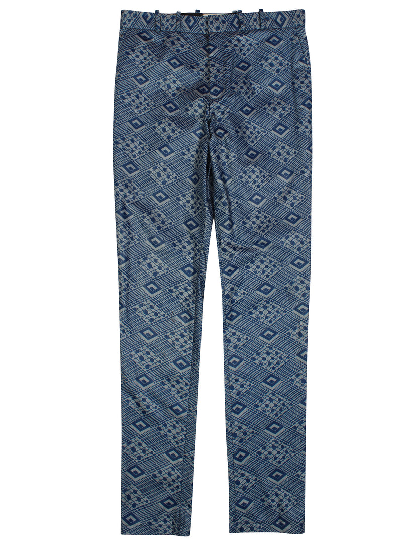 Osei African Print Fitted trousers-Bluemono