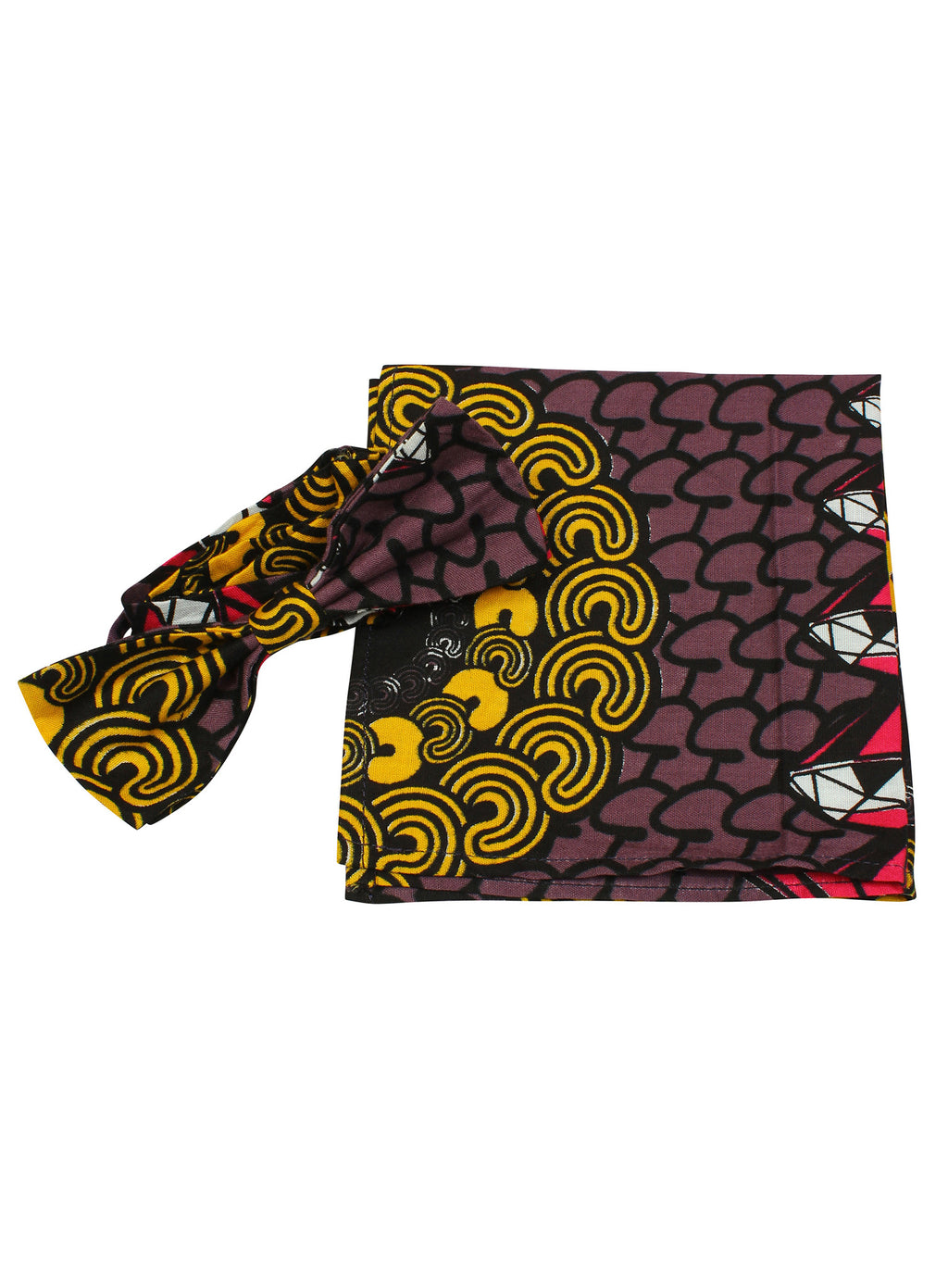 Men's Bow Tie & Pocket Square-Di - OHEMA OHENE AFRICAN INSPIRED FASHION  - 1