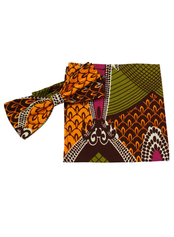 Men's African Print Bow Tie & Pocket Square-Chandelier