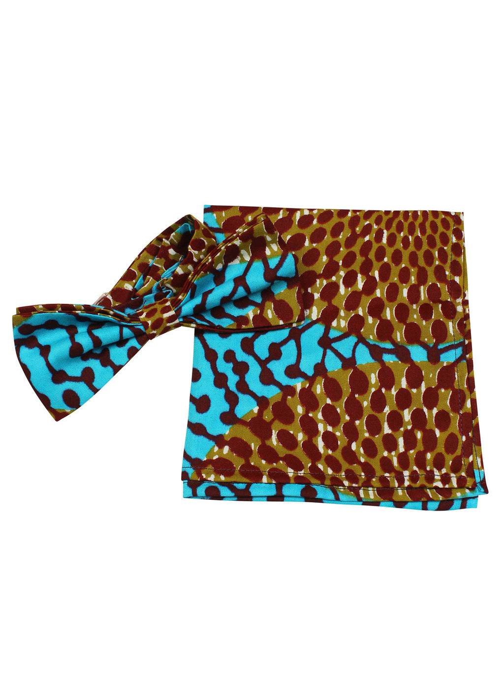 Printed Bow Tie & Pocket Square-Nsubra - OHEMA OHENE AFRICAN INSPIRED FASHION  - 1