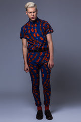Short sleeve African print shirt 'Love chain' - OHEMA OHENE AFRICAN INSPIRED FASHION  - 2