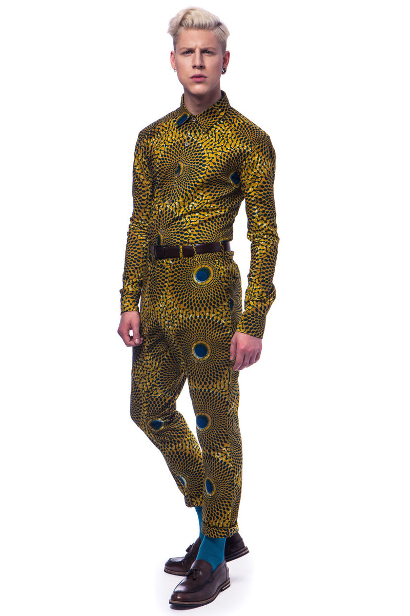 Long sleeve African print shirt Nsubra - OHEMA OHENE AFRICAN INSPIRED FASHION  - 3