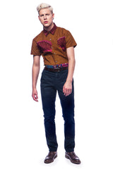 Men's SS African print shirt 'Kwadu' - OHEMA OHENE AFRICAN INSPIRED FASHION  - 3