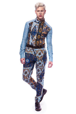 Men's Denim African print shirt 'Bethlehem'