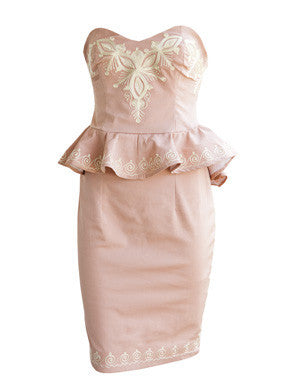 Jamelia- Peplum dress with embroidery