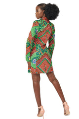 Jacqui Red African print blazer blazer dress