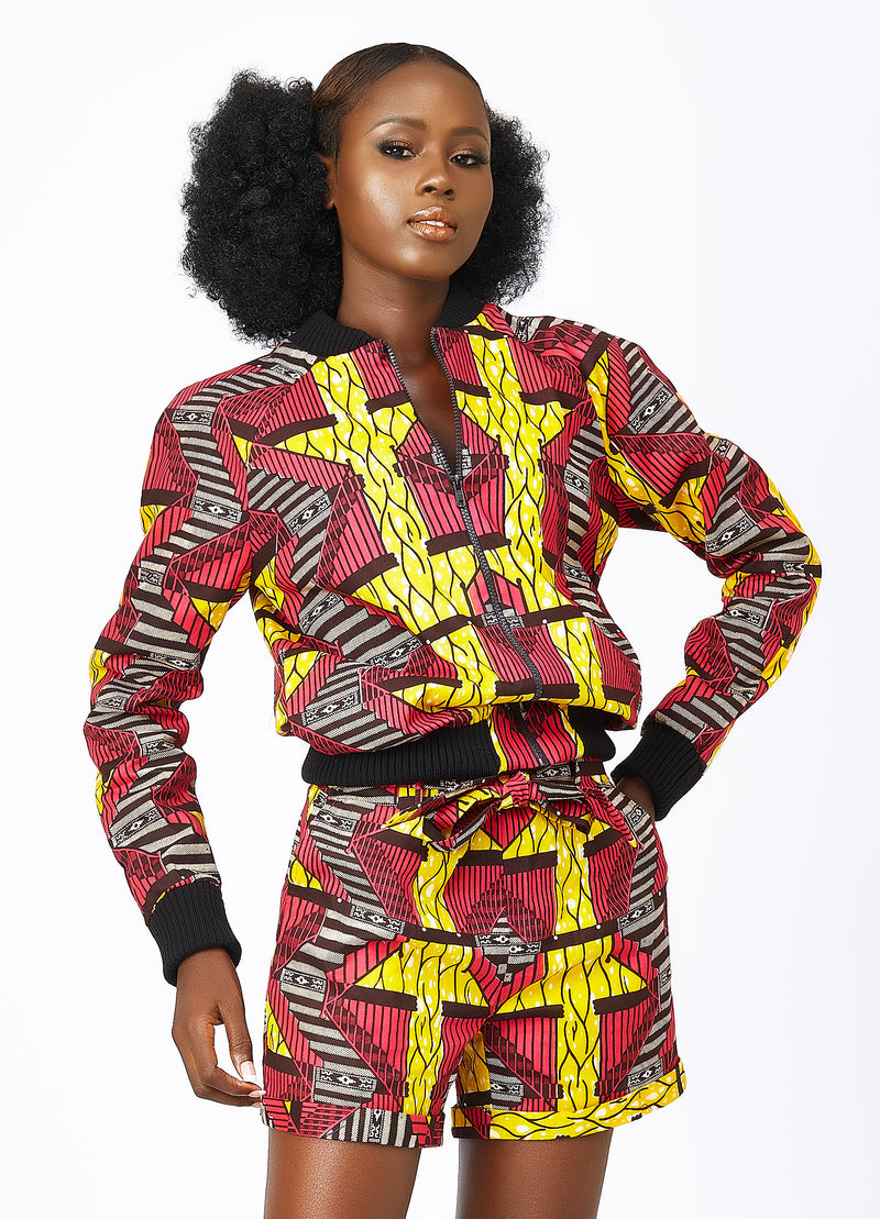 Ladies African print bomber jacket