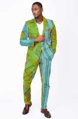 Osei Men's African print fitted trousers-Asso