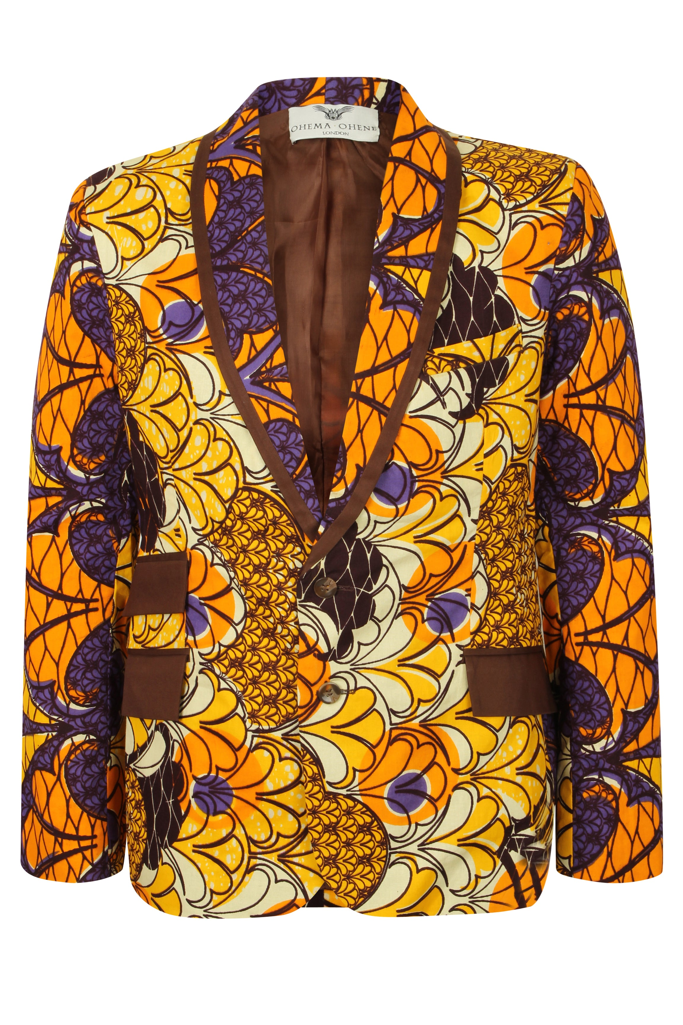 Mens 2 Button African Print Blazer-Joshua 'Autumn Fall'