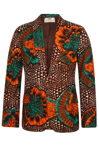 Mens 2 Button African Print Blazer-Joshua Greenleaf