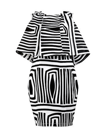 Laura Black & White cape dress - OHEMA OHENE AFRICAN INSPIRED FASHION  - 1