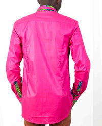 Long Sleeve African Print shirt-Deep Pink - OHEMA OHENE AFRICAN INSPIRED FASHION  - 2
