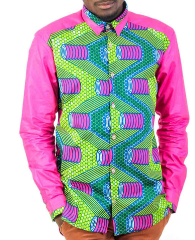 Long Sleeve African Print shirt-Deep Pink