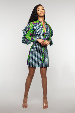 Ladies African print shirt dress