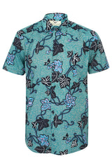 Short sleeve African print shirt 'Leaf'