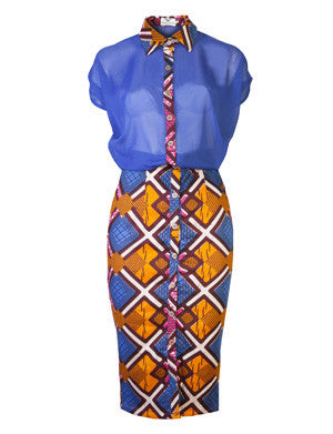 Martha African print shirt dress - OHEMA OHENE AFRICAN INSPIRED FASHION  - 1
