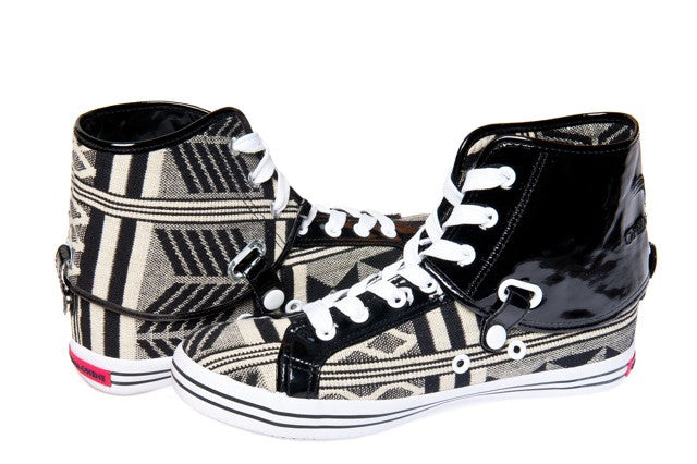 Black & White Kente Hi Top Sneakers - OHEMA OHENE AFRICAN INSPIRED FASHION