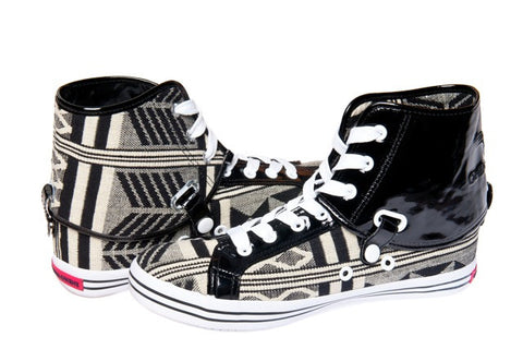 Black & White Kente Hi Top Sneakers