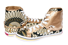 African Print Hi Tops-Gold Teshie - OHEMA OHENE AFRICAN INSPIRED FASHION