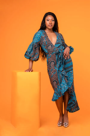 Naomi Bandana Puff Sleeve Midaxi Wrap dress