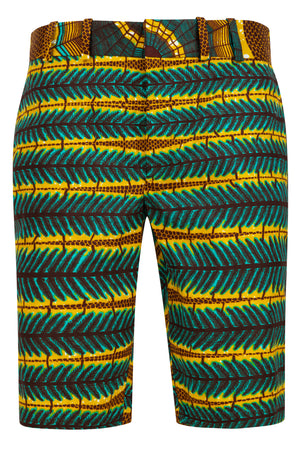 Men's African print fitted shorts-Love Web