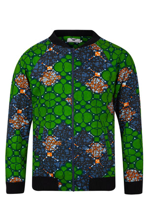 Joe African print Bomber Jacket-Waterleaf