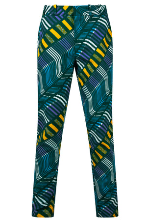 Osei Men's African print fitted trousers-Lazer