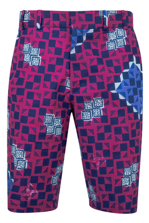 Jamie Men's African print fitted shorts-Checkmate