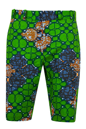 Jamie Men's African print fitted shorts-Waterleaf