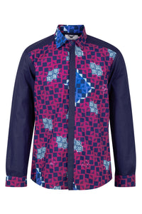 Men's Long Sleeved African print shirt-Checkmate