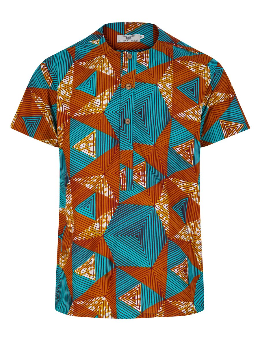 MEN'S COLLAR LESS SHIRT AFRICAN PRINT