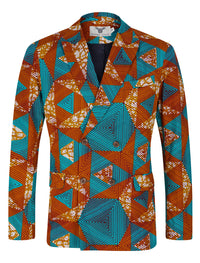 Double breasted African print blazer