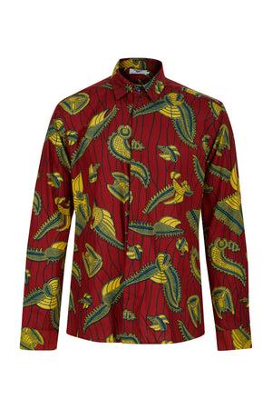 Men's Red African print shirt Ohema Ohene